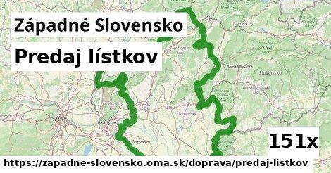 predaj lístkov v Západné Slovensko