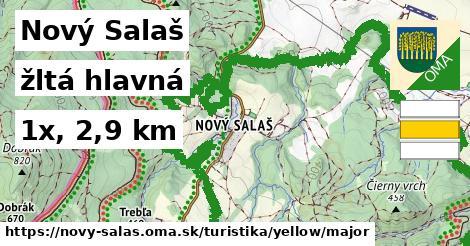Nový Salaš Turistické trasy žltá hlavná