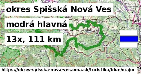 okres Spišská Nová Ves Turistické trasy modrá hlavná