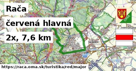 Rača Turistické trasy červená hlavná