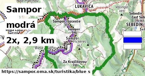 Sampor Turistické trasy modrá