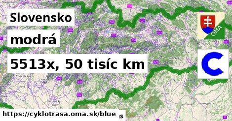 Slovensko Cyklotrasy modrá