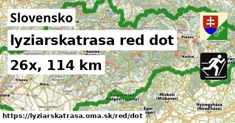 Slovensko Lyžiarske trasy červená dot