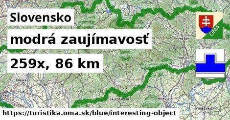 Slovensko Turistické trasy modrá zaujímavosť