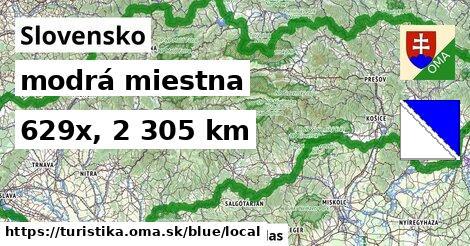 Slovensko Turistické trasy modrá miestna