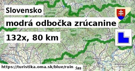 Slovensko Turistické trasy modrá odbočka zrúcanine