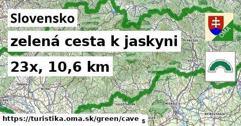 Slovensko Turistické trasy zelená cesta k jaskyni