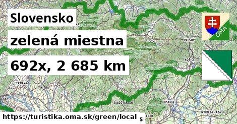 Slovensko Turistické trasy zelená miestna