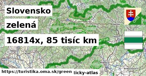 Slovensko Turistické trasy zelená