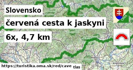 Slovensko Turistické trasy červená cesta k jaskyni