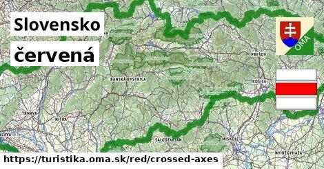 Slovensko Turistické trasy červená crossed_axes