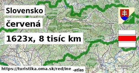 Slovensko Turistické trasy červená iná