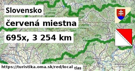Slovensko Turistické trasy červená miestna