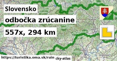 Slovensko Turistické trasy odbočka zrúcanine