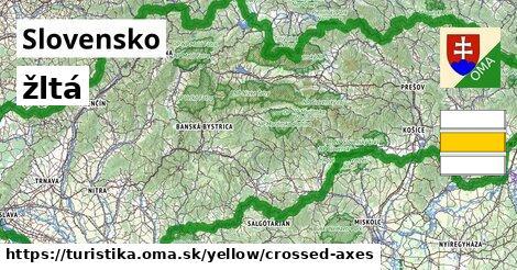 Slovensko Turistické trasy žltá crossed_axes