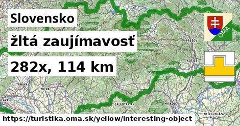 Slovensko Turistické trasy žltá zaujímavosť