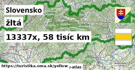 Slovensko Turistické trasy žltá