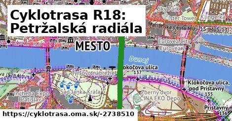ilustračný obrázok k Cyklotrasa R18: Petržalská radiála
