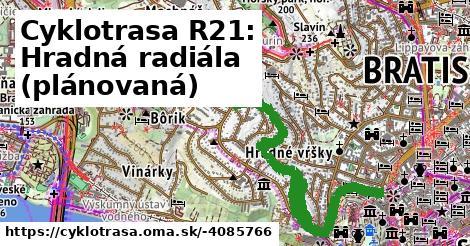 Cyklotrasa R21: Hradná radiála (plánovaná)