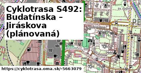 Cyklotrasa S492: Budatínska – Jiráskova (plánovaná)