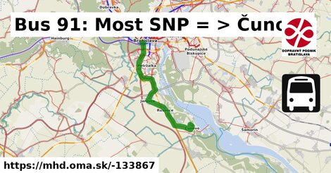 ilustračný obrázok k Bus 91: Most SNP => Čunovo