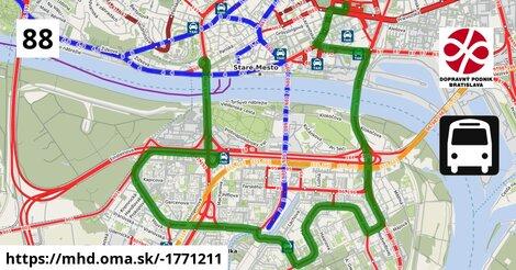 ilustračný obrázok k Bus 88: Autobusová stanica => Most SNP