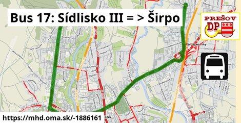 ilustračný obrázok trasy Linky číslo 17 v SR