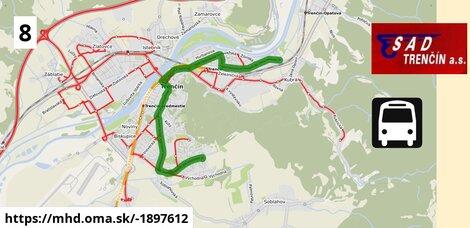 ilustračný obrázok trasy Linky číslo 8 v SR