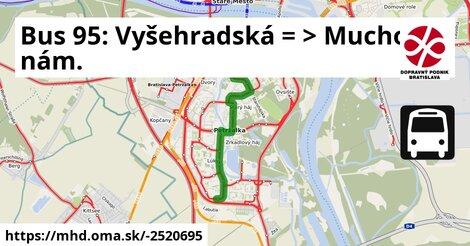 ilustračný obrázok k Bus 95: Vyšehradská => Muchovo nám.
