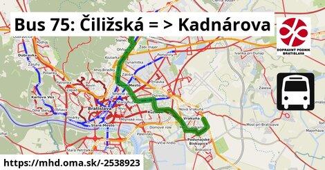 ilustračný obrázok k Bus 75: Čiližská => Kadnárova