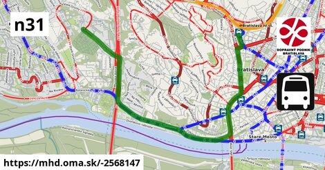 ilustračný obrázok k Bus N31: Hlavná stanica => Cintorín Slávičie údolie