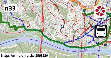 ilustračný obrázok k Bus N33: Kuklovská => Hlavná stanica