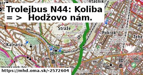ilustračný obrázok k Trolejbus N44: Koliba => Hodžovo námestie