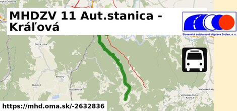 ilustračný obrázok trasy Linky číslo 11 v SR