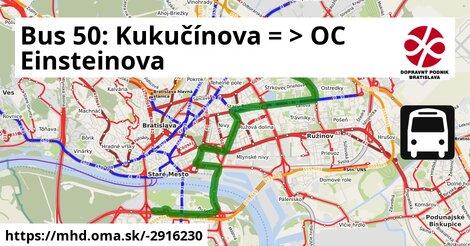 ilustračný obrázok k Bus 50: OD Slimák => Aupark