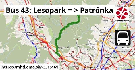 ilustračný obrázok k Bus 43: Lesopark => Patrónka