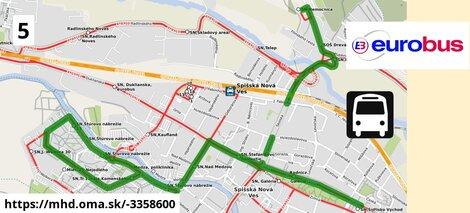 ilustračný obrázok trasy Linky číslo 5 v SR