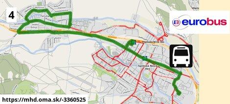 ilustračný obrázok k Linka č.4, Madaras > Smižany > Autobusová stanica