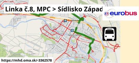 ilustračný obrázok k Linka č.8, MPC > Sídlisko Západ