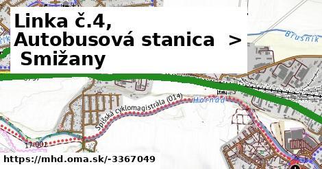 ilustračný obrázok k Linka č.4, Autobusová stanica > Smižany