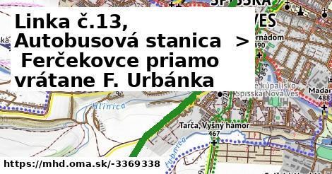 ilustračný obrázok k Linka č.13, Autobusová stanica > Ferčekovce priamo vrátane F. Urbánka