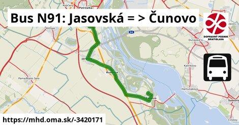 ilustračný obrázok k Bus N91: Jasovská => Čunovo