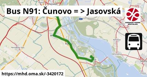 ilustračný obrázok k Bus N91: Čunovo => Jasovská