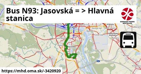 ilustračný obrázok k Bus N93: Jasovská => Hlavná stanica