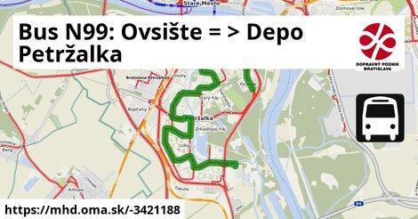 ilustračný obrázok k Bus N99: Ovsište => Vozovňa Petržalka