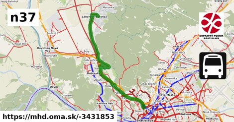 ilustračný obrázok k Bus N37: Hlavná stanica => Dubová => Záhorská Bystrica