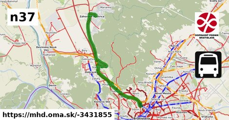 ilustračný obrázok k Bus N37: Záhorská Bystrica => Dubová => Hlavná stanica