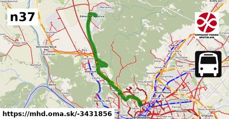 ilustračný obrázok k Bus N37: Záhorská Bystrica => Vozovňa Hroboňova => Hlavná stanica