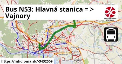 ilustračný obrázok k Bus N53: Hlavná stanica => Vajnory-konečná