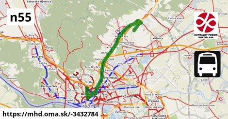ilustračný obrázok k Bus N55: Hlavná stanica => Na pántoch